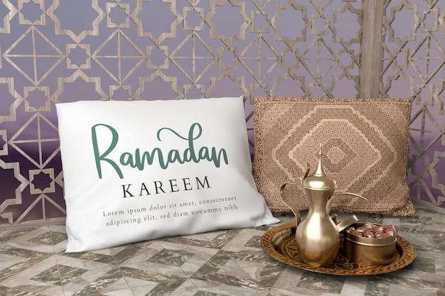 Arranjo de celebração islâmica com bule e datas