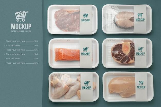 Arranjo de comida congelada com embalagem mock-up