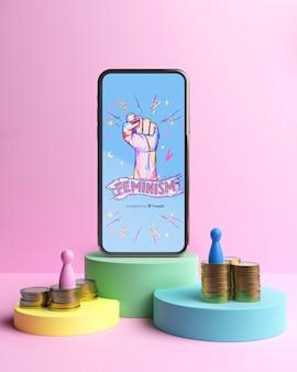Arranjo de conceito de poder de garota com maquete de telefone
