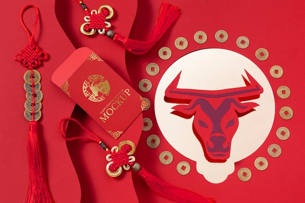 Arranjo de elementos de mock-up de ano novo chinês