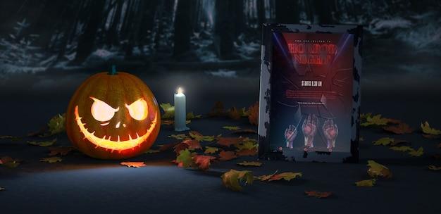 Arranjo de halloween com abóbora e maquete de quadro