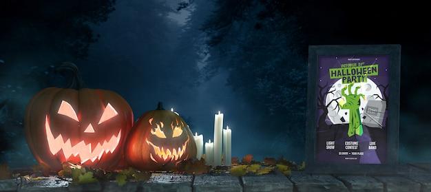 Arranjo de halloween com abóboras e maquete de quadro