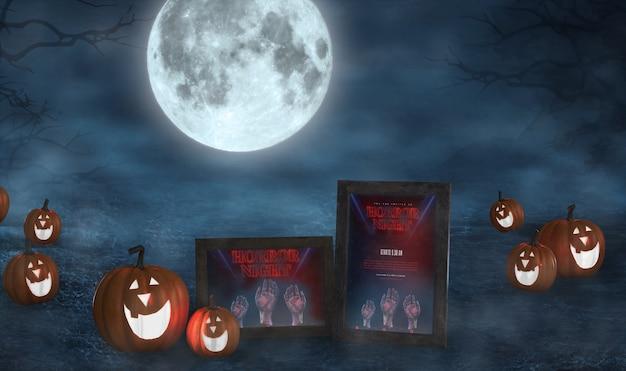 Arranjo de halloween com abóboras sorridente e maquete de cartazes de filmes