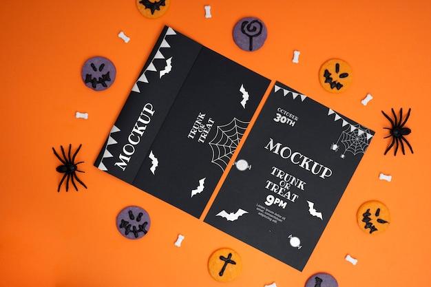 Arranjo de halloween com cartões mock-up
