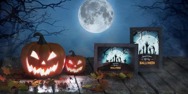 Arranjo de halloween com maquete de abóboras e quadros