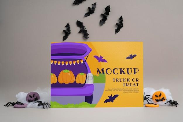 Arranjo de halloween com maquete de cartão