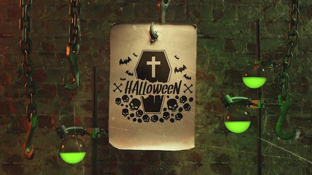 Arranjo de halloween com papel no gancho e luz