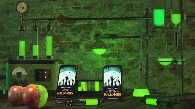 Arranjo de halloween com smartphone e luzes de neon