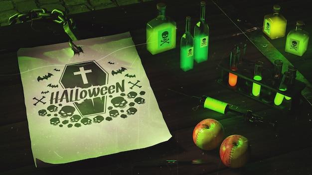 Arranjo de halloween de alto ângulo com luz de neon