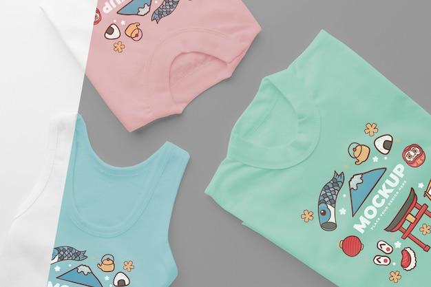 Arranjo de maquete de camiseta japonesa
