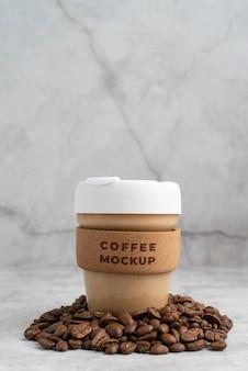Arranjo de maquete de elementos de café