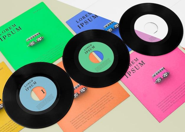 Arranjo de mock-up de discos de vinil