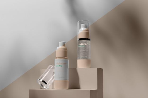 Arranjo de mock-up de produtos para a pele