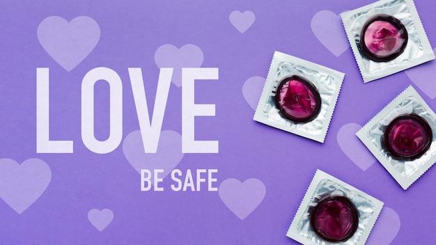 Arranjo de preservativos acima da vista