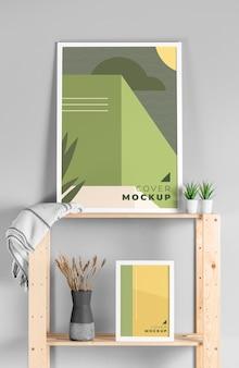 Arranjo de quadros de mock-up modernos