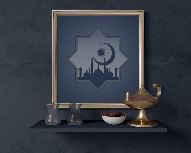 Arranjo de ramadã com maquete de quadro