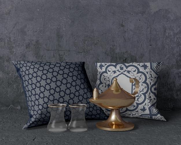 Arranjo de ramadan tradicional vista frontal com almofadas
