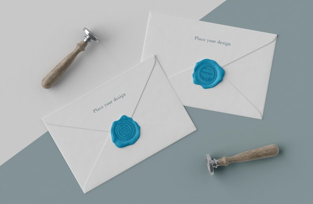 Arranjo de selo mock-up para envelope