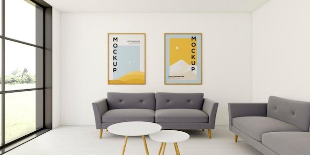 Arranjo interior minimalista de vista frontal com maquete de quadros