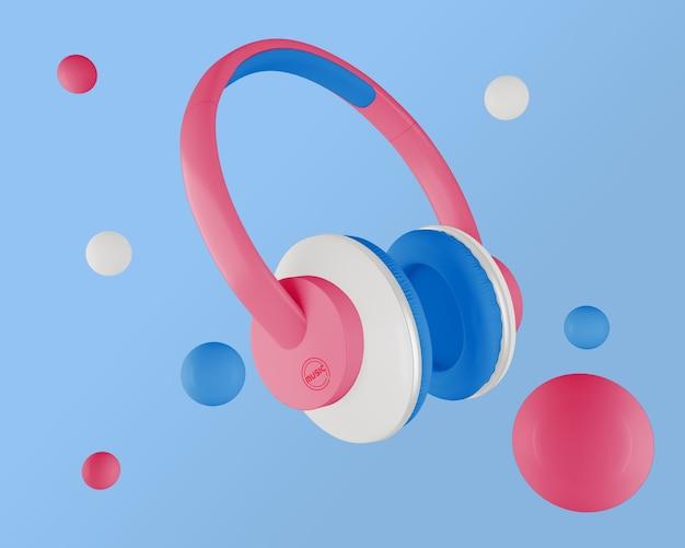 Arranjo minimalista com fones de ouvido