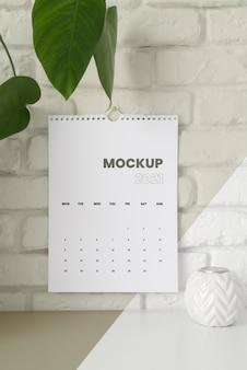 Arranjo mínimo de maquete de calendário