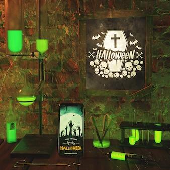 Arranjo para evento de halloween com luz neon