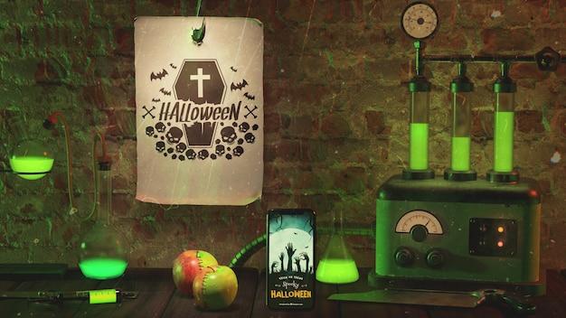 Arranjo para evento de halloween com luz verde