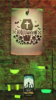 Arranjo para evento de halloween com papel velho