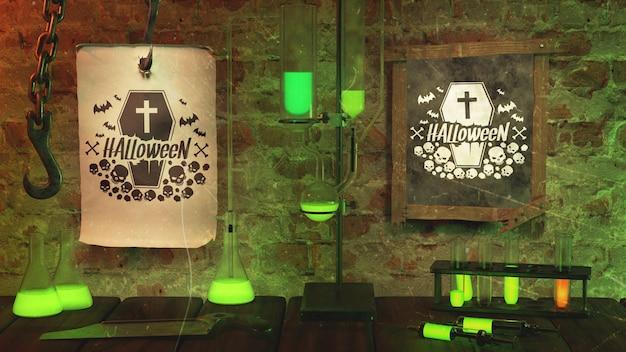 Arranjo para festa de halloween com luz verde
