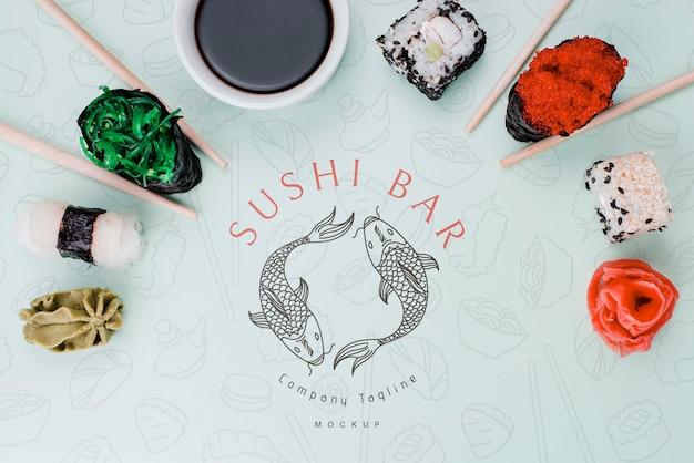 Arranjo para maquete de bar de sushi