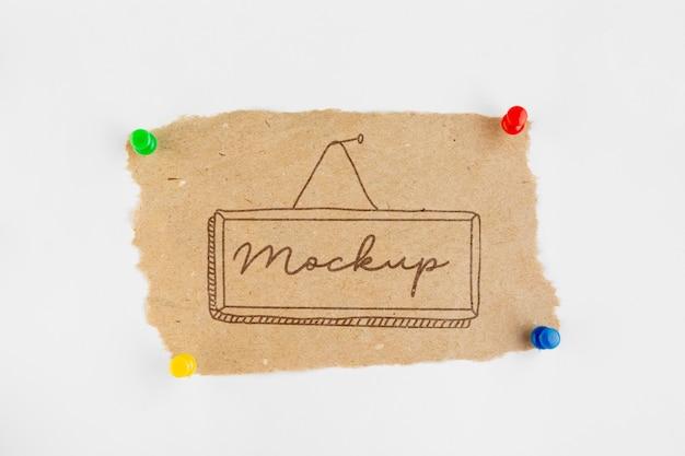 Arranjo plano da etiqueta de mock-up