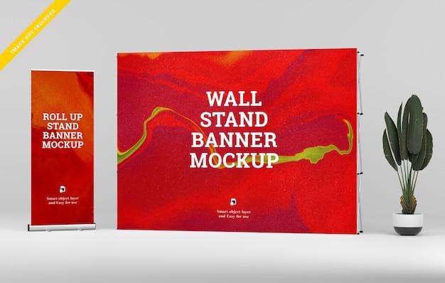 Arregace banner e parede stand banner maquete.