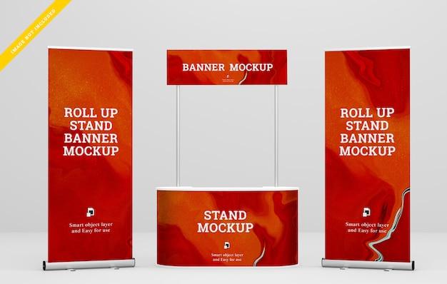 Arregace banner e stand banner maquete. modelo psd.