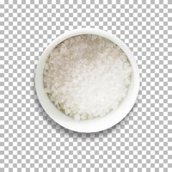 Arroz seco cru em uma tigela com fundo transparente isolado.