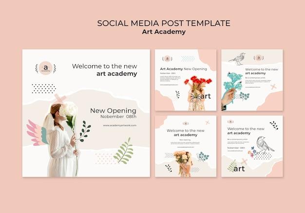 Art academy abrindo postagem nas redes sociais