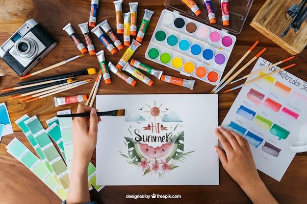 Arte criativa e maquete de pintura