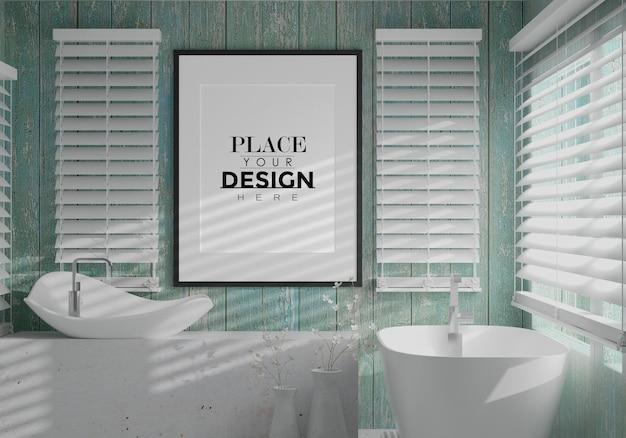 Arte da parede ou modelo de quadro de imagem no interior do banheiro