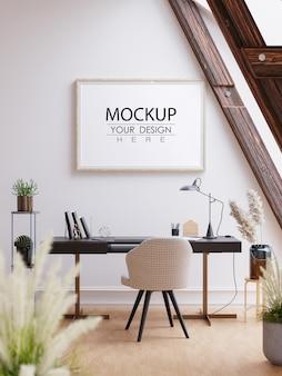 Arte da parede ou moldura de tela maquete sobre a mesa do escritório