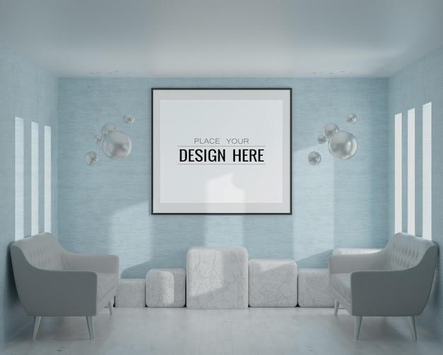 Arte da parede ou moldura na sala de estar mockup