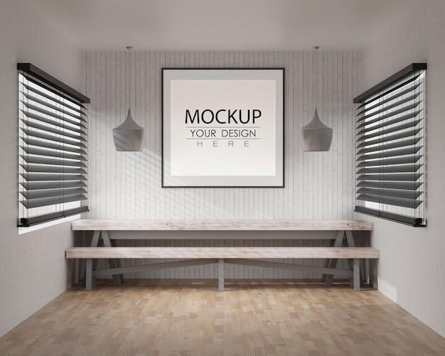 Arte da parede ou porta-retratos em maquete de quarto moderno