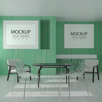 Arte de parede ou moldura em uma maquete de restaurante moderno