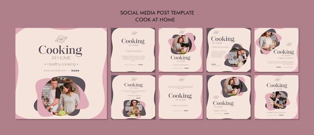 Artigo de culinária em casa nas redes sociais