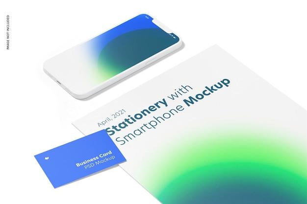 Artigos de papelaria com maquete de smartphone, close-up