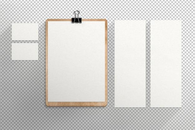Artigos de papelaria isolados com cartões e cardápio