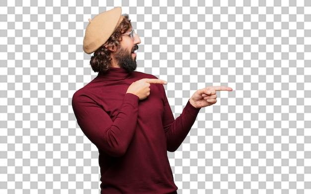 Artista francês com uma boina apontando