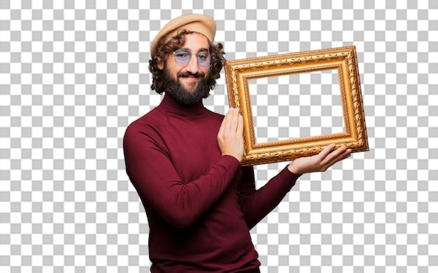 Artista francês com uma boina com um quadro barroco
