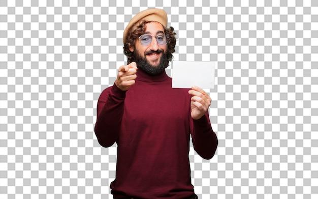 Artista francês com uma boina e segurando um cartaz