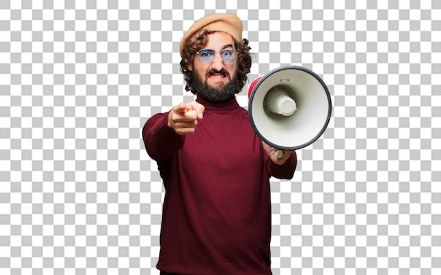 Artista francês com uma boina e um megafone