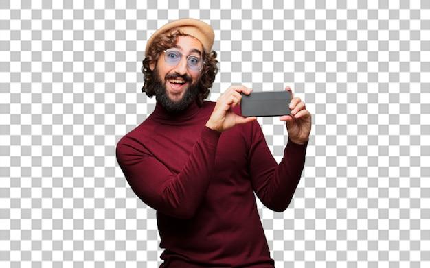 Artista francês com uma boina e um telefone celular