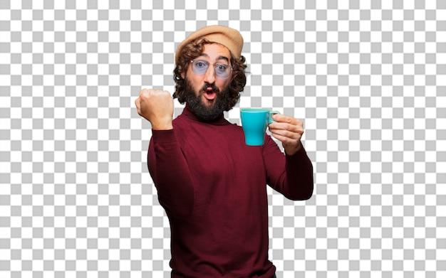Artista francês com uma boina segurando um café